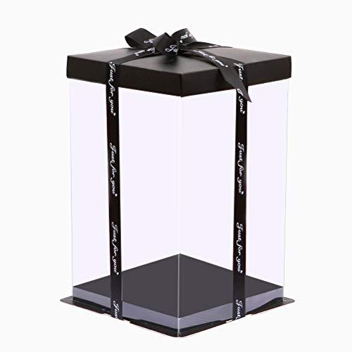 Naponior Klare Kuchenbox Träger Verpackung mit Deckel Rose Teddybär Box Blumenbär Box für Kekse Cupcakes Muffins Kuchen Desserts Dekoration Jubiläumsgeschenk Valentinstag