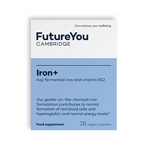 Iron+ with Koji Fermented Iron and Vitamin B12-28 Day Supply - Vegan Suitable Supplement - Developed by FutureYou Cambridge, UK