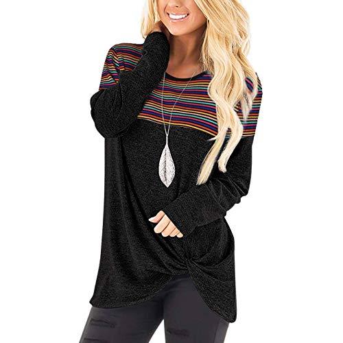 Langarmshirt Sweatshirt mit Streifen Pullover Damen Casual Shirt Rundhals Lose Oberteil Tunika Tops Streetwear Casual Langarmshirt Lange Rundhals