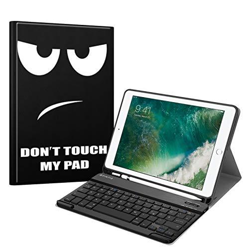 Fintie Tastatur Hülle für iPad 9.7 2018 (6. Generation), Soft TPU Rückseite Gehäuse Keyboard Case mit eingebautem Pencil Halter, magnetisch Abnehmbarer QWERTZ Bluetooth Tastatur, Don't Touch