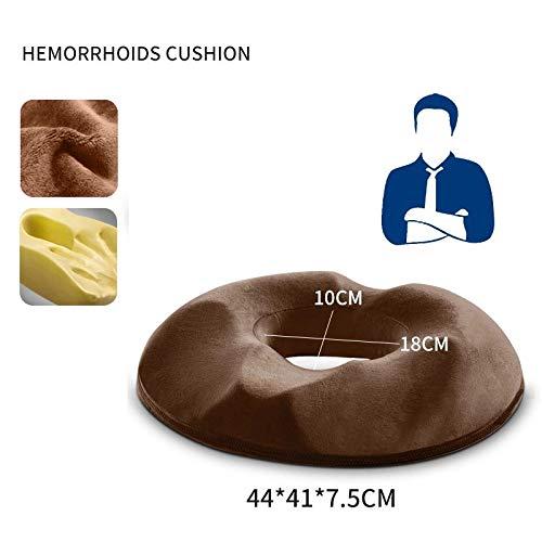 YZY Anti Hemorrhoid Massagesessel Sitzkissen Hip Push Up Orthopädische Foam Steißbein Kissen Auto-Büro-Sitzkissen (Color : Brown, Size : 44x41x7.5cm)