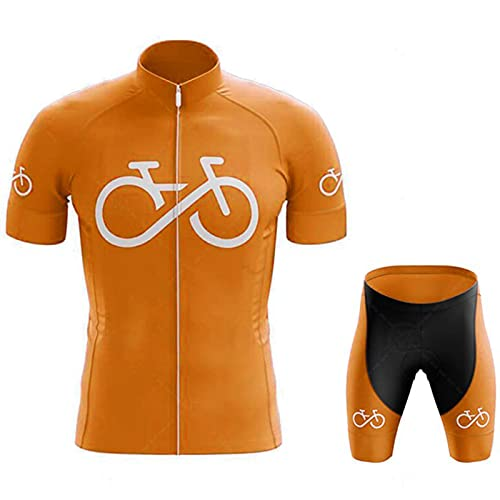 Ropa Ciclismo Hombre Verano Maillot Manga Corta de Bicicleta, y Culotte Ciclismo Transpirable, Secado Rápido para Deportes al Aire Libre Ciclo Bicicleta,White(B)-S