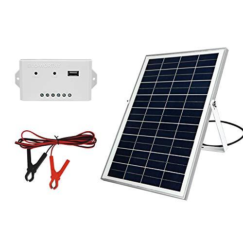 ECOWORTHY 25W 18V Solar Panel-Kits: 25W Poly Solar Panel + 3A Laderegler mit USB-Anschluss + 30A Batterieclip mit 78-Zoll-Kabel + U-Halterung für Caravan, Camper, Boot oder jedes 12-V-System (25 Watt)