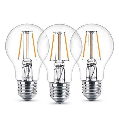 Philips Classic Ledlamp, vervangt 40W, E27, standaardvorm, warmwit (2700 Kelvin), 470 lumen, 3-pack, helder