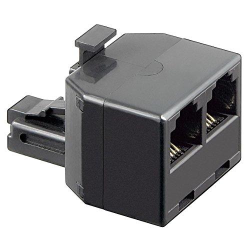 erenLine® ISDN T-Adapter, Verteiler, Weiche; 1x RJ12 Stecker auf 2X RJ12 Buchse; 1:1 belegt