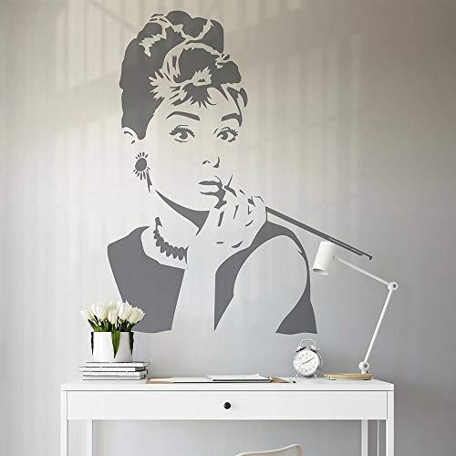 HGFDHG Silueta Pared salón de Belleza Vinilo Pegatina Retrato Famoso Vieja Estrella de Hollywood decoración del hogar