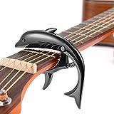 Cejilla para ukelele, abrazadera de cambio rápido, relleno de silicona suave, cejilla acolchada en forma de delfín, aleación de zinc, color negro