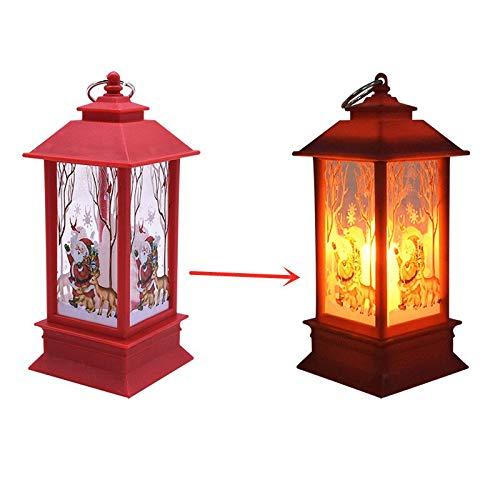 Vintage Light Lamp Christmas Party Hanging LED Lantern Candle Tea Light Xmas Tree Ornaments Santa Claus Elk Lamp Decorations B04