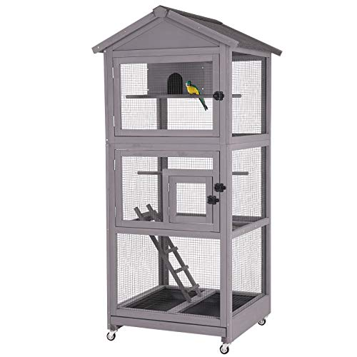 Wooden Bird Cages Outdoor Bird Aviary Indoor Parakeet Cage with Perch for Birds, Large Dove cage with Wire Netting Above The Removable Pull Out Tray - Wheels Include