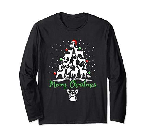 Chihuahua Christmas Tree Merry Christmas Long Sleeve Shirt