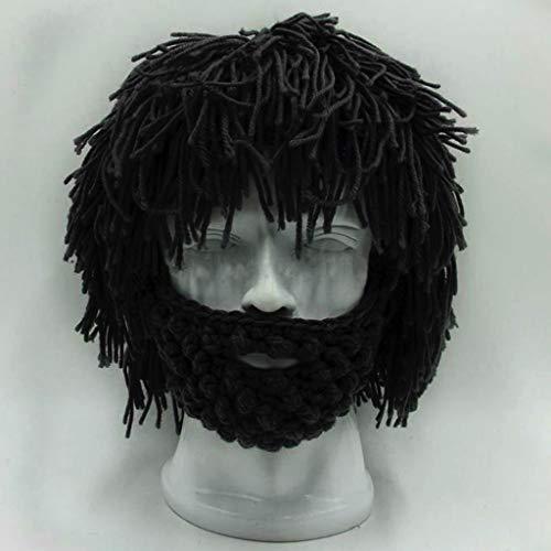 Taotao Sombrero Hecho Punto Hecho a Mano de los Hombres del Invierno del Ganchillo del Bigote de la Barba del Casquillo Divertido de la Borla (Color : Negro)
