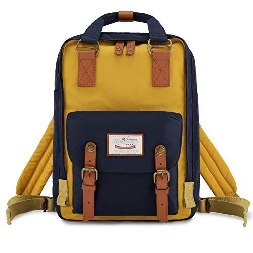 "Himawari School Functional Travel Waterproof Backpack Bag for Men & Women | 14.9""x11.1""x5.9"" | Holds 13-in Laptop (Blue & yellow)"