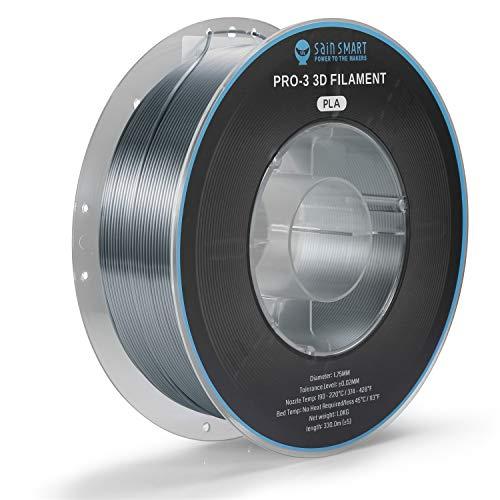 SainSmart Silk PLA Filament, PRO-3 - Filamento para impresora 3D (1,75 mm, precisión dimensional +/- 0,02 mm, bobina de 1 kg/2 libras), color plateado