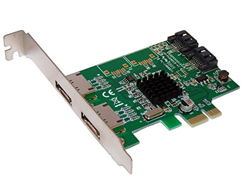 PCI Express (PCIe x1) Controller Karte SATA III - 4 SATA3 Ports (2 extern + 2 intern) - Chipset Marvell 88SE9215 - by Computer District