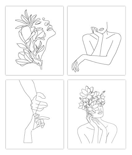 Designs by Maria Inc. Minimalist Line Art Prints - 8x10-Inch UNFRAMED Set of Modern Wall Decor - Unique Black and White Designs Printed on Cardstock - Perfect for Home and Office Walls and Shelves (Option 1)