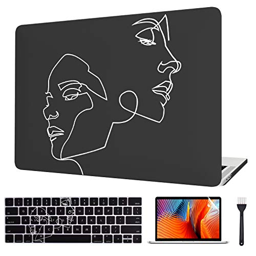 VAESIDA for MacBook Pro 13 Inch Case 2019/18/17/16, Hard Laptop Cover Case & Keyboard Cover & Screen Protector Only for 2016-2019 Mac Pro 13 (Older Pro 13 Model A2159/A1706/A1708/A1989), Face Sketch