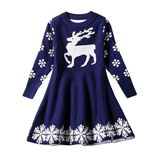 Baijiaye Kinderkleding 2-9 Jaar Peuter Baby Meisjes Kerst Jurk Sneeuwvlok Eland Print Gebreide Jurk Blauw 120cm