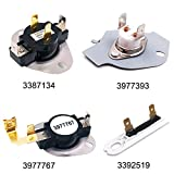 3392519 Dryer Thermal Fuse 3387134 High-Limit Thermostat 3977393 Cut-off Switch 3977767 Dryer Thermostat for Whirlpool Kenmore Maytag KitchenAid Dryer Replaces Parts 3399693 PS345113 AP6008325