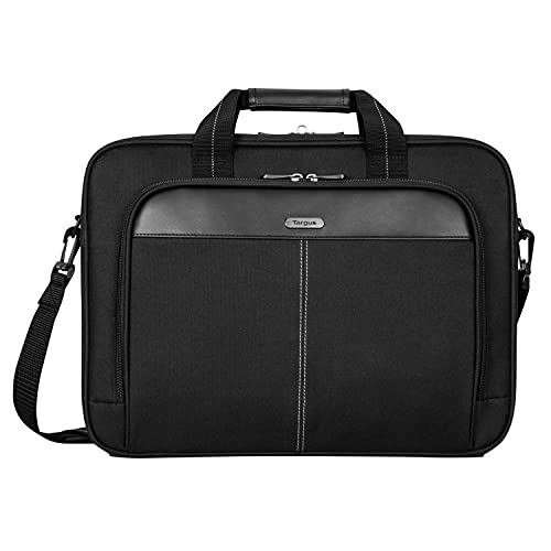 Targus Classic Slim Briefcase with Crossbody Shoulder Bag Design for the Business Professional Travel Commuter and Laptop Protection fits up to 15-16' Laptops, Black (TCT027US)