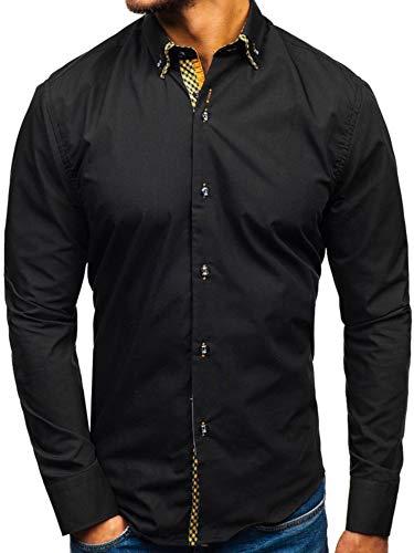 BOLF Herren Elegant Hemd Langarm Button-Down Bügelleicht Slim Fit Business Style 4708 Schwarz-Braun L [2B2]