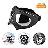 NAMSAN Dog Goggle UV Protection Dog Sunglasses Waterproof Windproof Adjustable Goggles for Middle/ Large Dog-Black