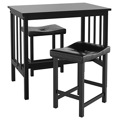 Giantex 3 Piece Dining Set, Counter Height Table Set with Black Frosted Tabletop and Metal Frame for Kitchen, Bar or Apartment w/ 2 Faux Leather Backless Stools, Compact, Space-Saving Design