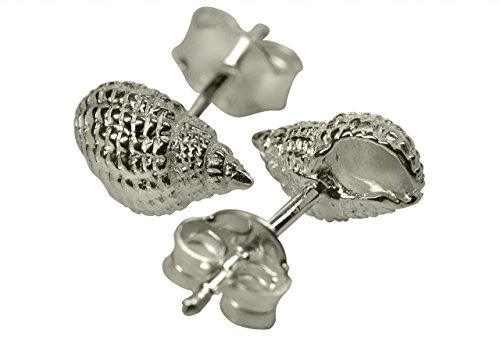 SILBERMOOS Damen Ohrstecker Muschel Meer strukturiert matt Sterling Silber 925 Ohrringe