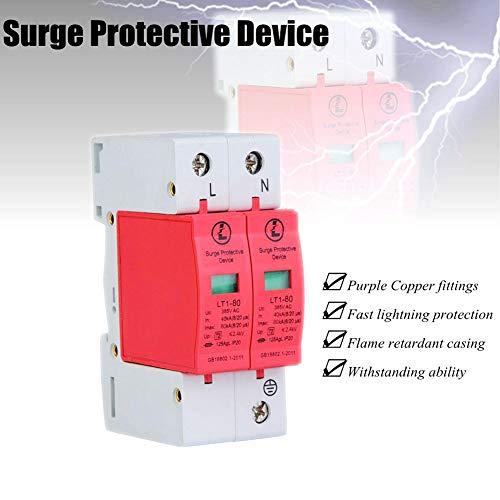 Protector Contra Sobretensiones De La Casa,385 V 20KA 2P Dispositivo De Detención De Bajo Voltaje,Carcasa Ignífuga, a Prueba De Fuego,Protección Rápida Contra Rayos(2P80KA)