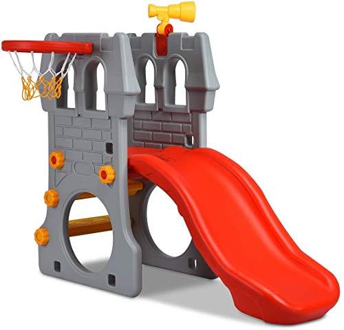 GLACER Toddler Slide, 5 in 1 Kids Climber Slide Playset w/...