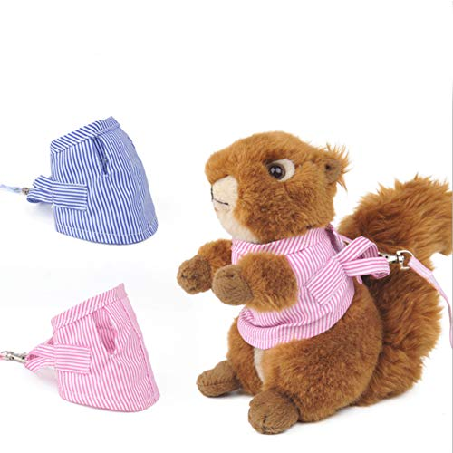 SEIS Guinea Pig Harness and Leash Set Hamster Suit for Walking Halloween Pet Striped Costume Small pet Clothes for Sugar Glider Rat Rabbit Ferret Squirrel (Pink)