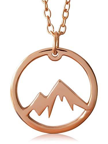 VIASOUL® Halskette Berge I Die Berge Kette für Damen aus 925er Silber I Mit 585er Gold überzogen I Die Original Mountain Love Kette (Rose)