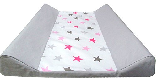 Babymajawelt Matelas à langer 50x70 cm - 2 cales y compris housse en coton de différents modèles, coussin en feuille sans phtalates, y compris housse en coton amovible (Big Stars, rose)