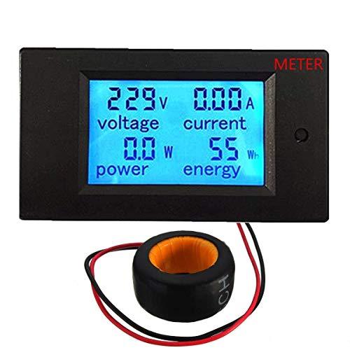 100A AC 80-260V LCD Digital Volt Watt Power Meter Ammeter Voltmeter Voltage Power Multimeter with Current Transformer CT