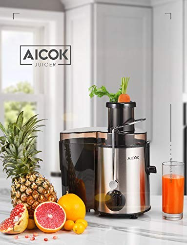 Juicer Aicok Juicers Whole Fruit and Vegetable Easy Clean, 3 Speed Juice Machine with Plus Pulse Function, Non-Slip Feet…
