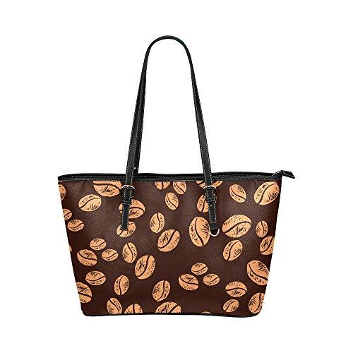 Plsdx Kaffeebohnen duftenden großen Leder tragbaren Griff Hand Totes Taschen kausalen Handtaschen mit Reißverschluss Schulter Shopping Geldbörse Gepäck Veranstalter für Lady Girls Womens