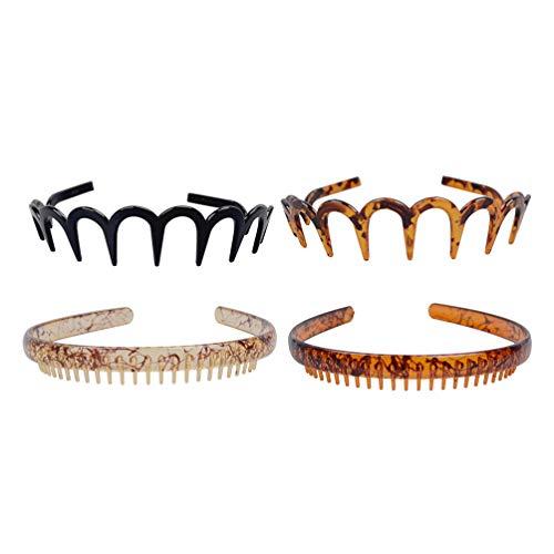 FRCOLOR Bandeau Ondulé en Plastique Cerceau de Cheveux de Printemps Bandeau Élastique Anti-Dérapant Unisexe Bandeau Flexible avec Dents 4Pcs (Style Mixte)