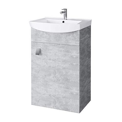 Planetmöbel Waschbecken mit Waschbeckenunterschrank/Waschtisch-Unterschrank 45cm Gäste Bad WC (Beton)