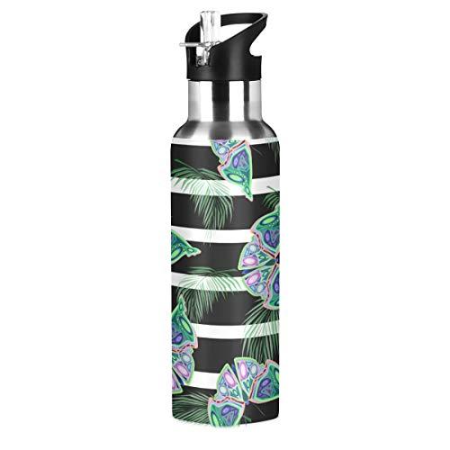 RURUTONG Botella de agua de acero inoxidable aislada de mariposa de 20 onzas mantiene líquidos calientes o fríos con boca ancha y pajita para fitness, gimnasio, camping, deportes al aire libre 2010068