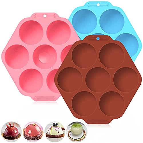 3 moldes semiesféricos de 7 agujeros, AIFUDA para hacer bombas de chocolate caliente, pasteles, gelatina, pudín (marrón, azul, rosa)
