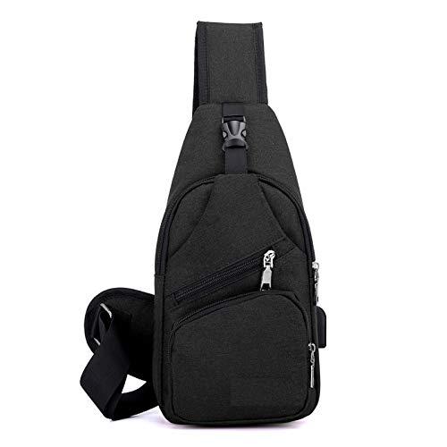 Elonglin Herren Brusttasche Sling Bag Schultertasche Basic Brustbeutel mit USB-Port 16 * 7 * 33cm (L*B*H) Schwarz(ohne wasserflasche-Tasche)