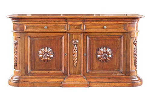 Große Anrichte aus Holz, Buffetschrank Kredenz Made in Italy mit 2 Türen und 2 Schubladen, klassisches Möbelstück mit Schnitzarbeit
