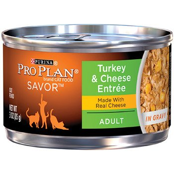 Pro Plan Savor Turkey & Cheddar Cheese Adult Canned Cat Food in Gravy, 3 oz.