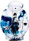 FLYCHEN Hombre Naruto Sudaderas con Capucha Figura Impresa Anime diseños de Cosplay - Chico en Azul y Blanco - M(Tag L)