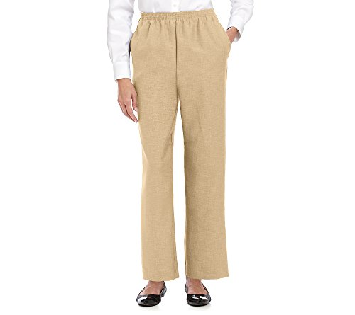 Alfred Dunner Women's Around Elastic Waist Polyester Short Pull-On Style Pants, Tan, 12 Petite