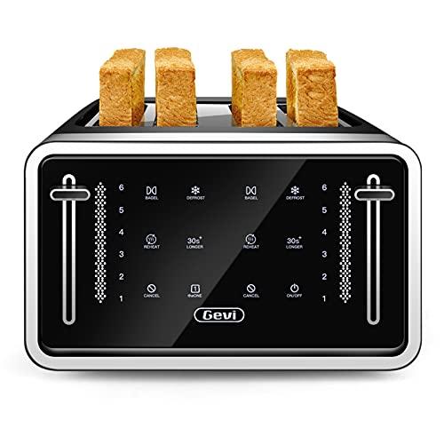 Toaster 4 Slice, Gevi Stainless Steel Extra-Wide Slot Toaster