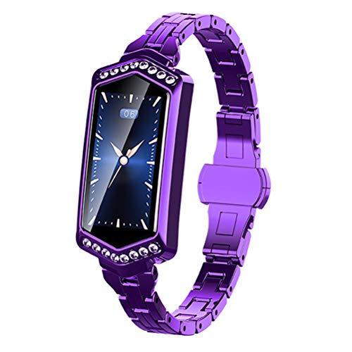 HJKPM Women's Smartwatch, Reloj Inteligente Impermeable con Ritmo Cardíaco Ciclo Menstrual Presión Arterial con La Función De Supervisión del Sueño para Prevenir La Infección del Virus,Púrpura