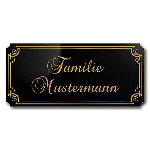Türschild, Briefkastenschild, Klingelschild, 70-300-008-SG, Acryl, Oberfläche schwarz glänzend, Gravur Gold, individuell anpassbar