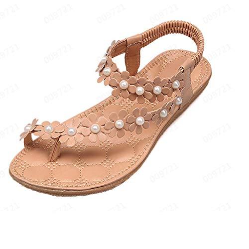 SHE.White Damen Sandalen Sommer Zehensandalen Flach Sandaletten Strand Sommer Flache Schuhe Frau Geschenk Bohemia Beach Sandal