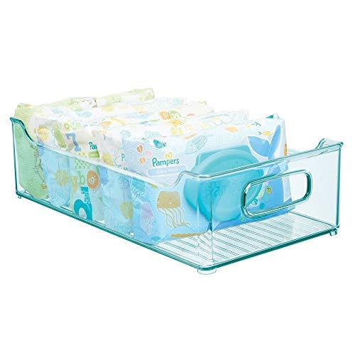 mDesign Caja organizadora para cuarto de bebé – Contenedor plástico grande con prácticas asas – Caja para juguetes, pañales o peluches en plástico libre de BPA – azul