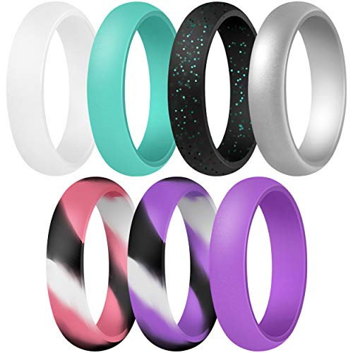 ThunderFit Women's Silicone Wedding Ring - Rubber Wedding Band - 5.5mm Wide, 2mm Thick (Pink Camo, Purple Camo, White, Silver, Teal, Purple, Black with Teal Glitter - Size 6.5-7 (17.3mm))